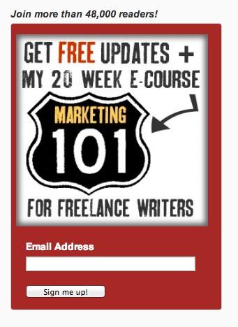 """Получайте бесплатные обновления + мой 20 недельный электронный курс """"Маркетинг 101"""" для писателей-фрилансеров"""