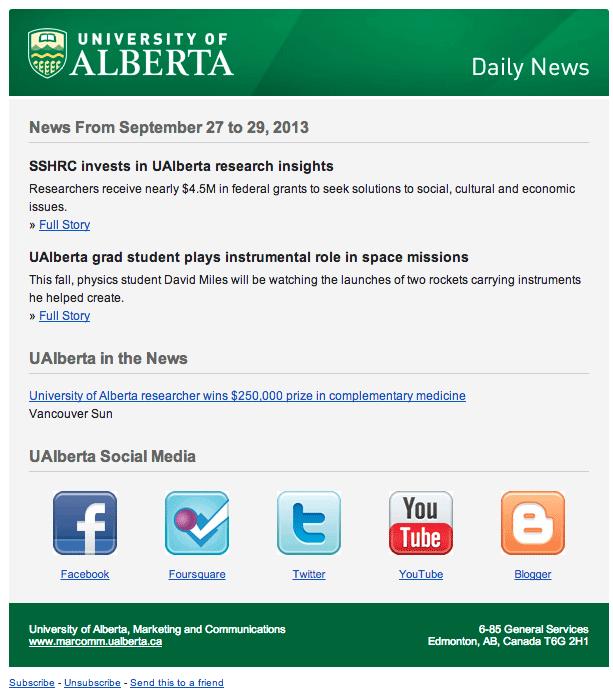 типичное письмо рассылки университета Альберты