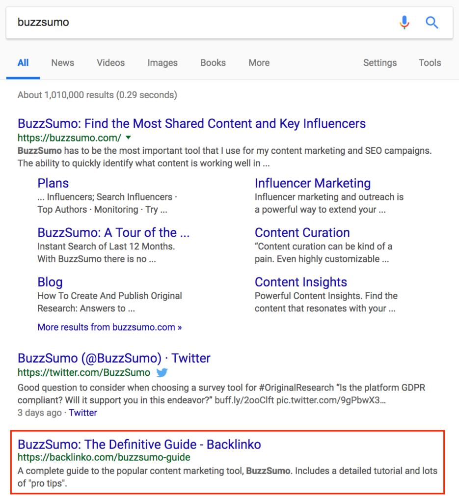 BuzzSumo поисковая выдача
