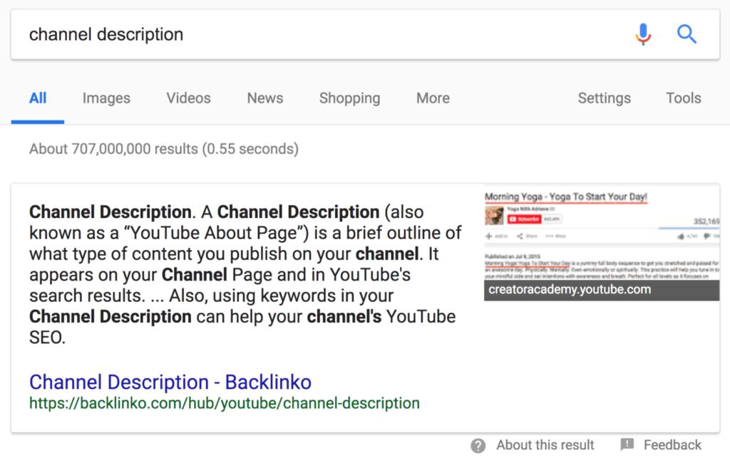 """Расширенный сниппет для """"channel description"""""""