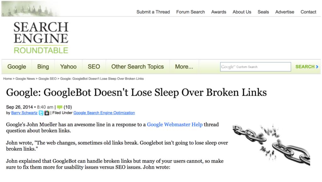 Google учитывает битые ссылки