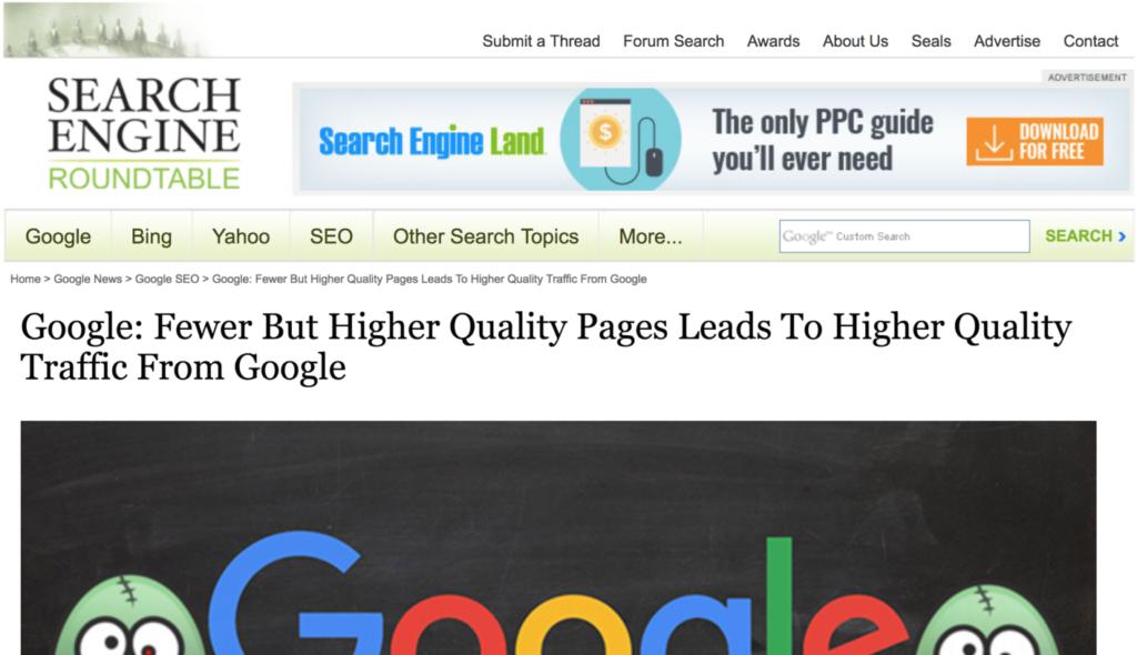 Google предпочитает сайты с небольшим количеством высококачественных страниц