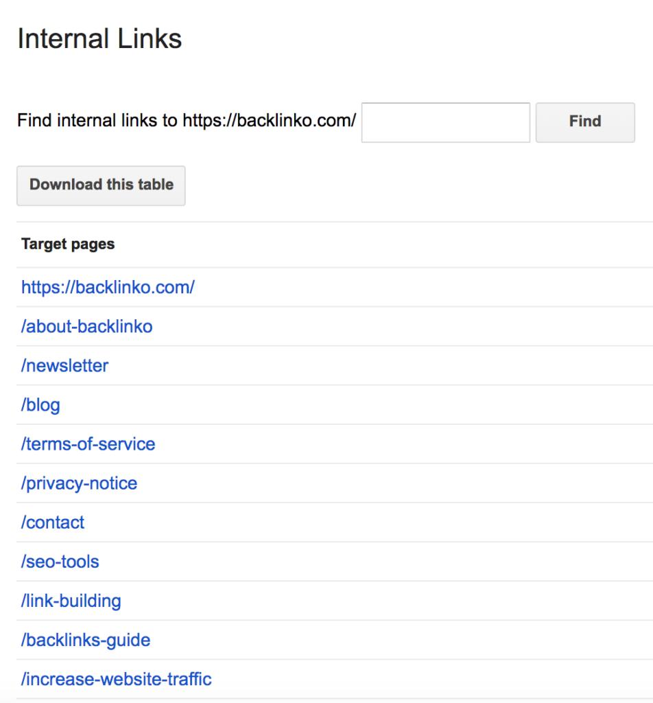 Google Search Console - большинство внутренних ссылок