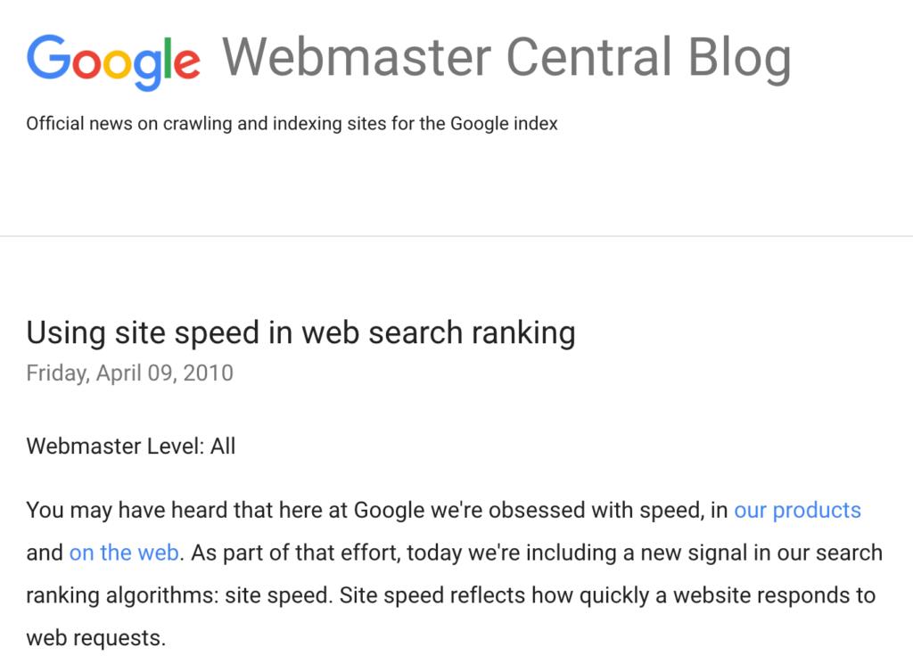 Скорость загрузки сайта влияет на его положение в поисковой выдаче